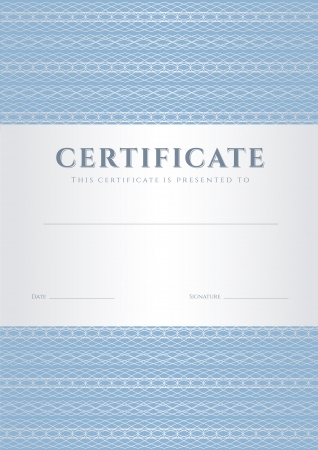 Blue Certificate, Diploma of completion  design template, background  with guilloche pattern  watermark , border, frame  Useful for  Certificate of Achievement, Certificate of education, award, winner Vector