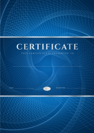 watermark: Certificate, Diploma of completion  design template, background  with dark blue guilloche pattern  watermark , frame  Useful for  Certificate of Achievement, Certificate of education, awards, winner Illustration