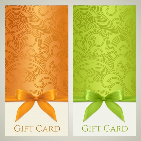 green coupon: Gift certificate, gift card, Voucher, Coupon template with floral  scroll, swirl  pattern, bow  ribbons, present   Background design for invitation, ticket, banner  Vector in orange, green colors