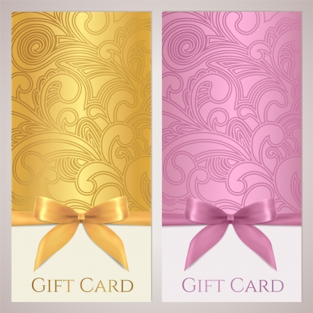Gift certificate, gift card, Voucher, Coupon template with floral  scroll, swirl  pattern, bow  ribbons, present   Background design for invitation, ticket, banner  Vector in golden, pink colors Vector