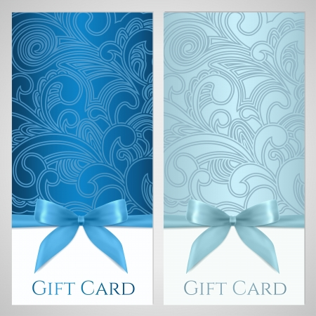 Gift certificate, gift card, Voucher, Coupon template with floral  scroll, swirl  pattern, bow  ribbons, present   Background design for invitation, ticket, banner  Vector in blue, turquoise colors Vettoriali
