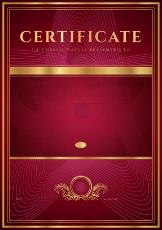 다크 레드 인증 완료 디자인 템플릿, 꽃 패턴, 금 테두리 프레임, 교육 성취의 인증서, 인증서에 대한 유용한 휘장, 수상 배경 디플로마 일러스트