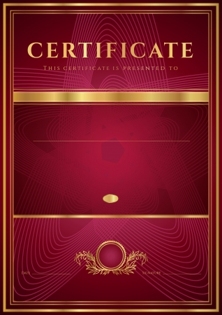 Dark red Certificate, Diploma of completion  design template, background  with floral pattern, gold border  frame , insignia  Useful for  Certificate of Achievement, Certificate of education, awards Illustration