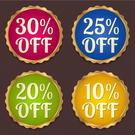Vector set  Colorful Sale banners, labels  coupon, discount tag  template  layout  with gold frame  border   Bright design for sticker, web page ad, ticket etc  Corrugated background Illustration