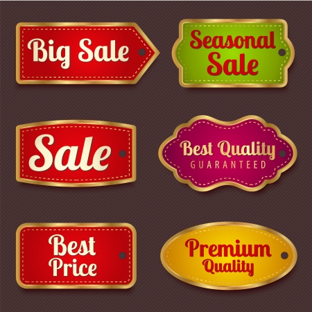 Vector set  Colorful Sale banners, labels  coupon, tag  template  layout  with gold frame  border   Bright design for sticker, web page ad, ticket etc  Corrugated background Vector