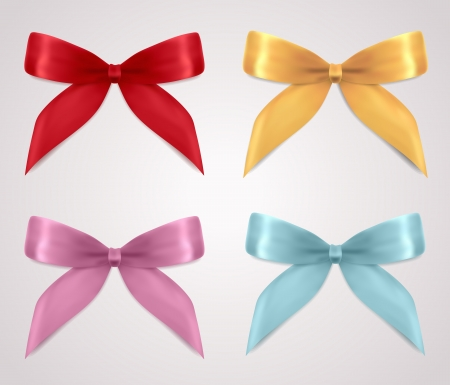 Set of gift bows  ribbons, present symbol   Decorative Design element for invitation, gift card, gift certificate, invitation, coupon  Useful for holidays, celebrations  Birthday, Christmas   Vector Illustration