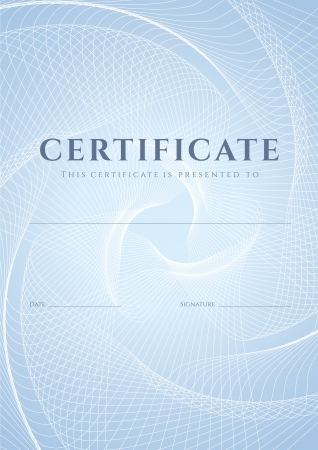 certificate template: Certificate, Diploma of completion  design template, background  with blue guilloche pattern  watermark , frame  Useful for  Certificate of Achievement, Certificate of education, awards, winner