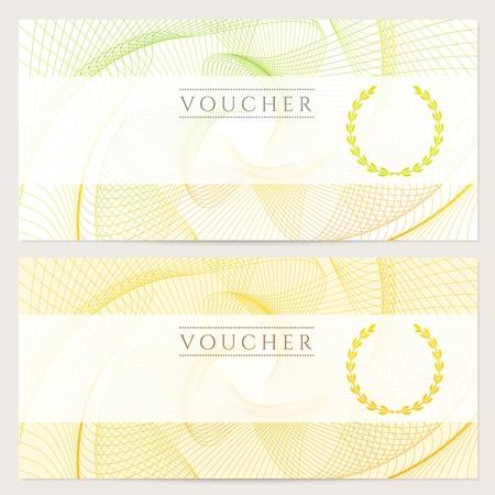 상품권, 상품권, 지폐, 돈 디자인, 통화, 주를위한 다채로운 무지개 로쉐 패턴 워터 마크 배경 쿠폰 템플릿, 검사 확인, 티켓, 벡터 보상 일러스트