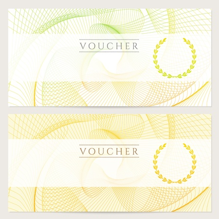 watermark: Gift certificate, Voucher, Coupon template with colorful  rainbow  guilloche pattern  watermark   Background for banknote, money design, currency, note, check  cheque , ticket, reward  Vector Illustration