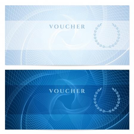 coupon: Geschenk-Gutschein, Gutschein, Coupon-Vorlage mit blauen Guillochenmuster Wasserzeichen Dunkler Hintergrund f�r Banknoten, Geld-Design-, W�hrungs-, Notiz, bitte den Check, Ticket, Vektor Belohnung Illustration