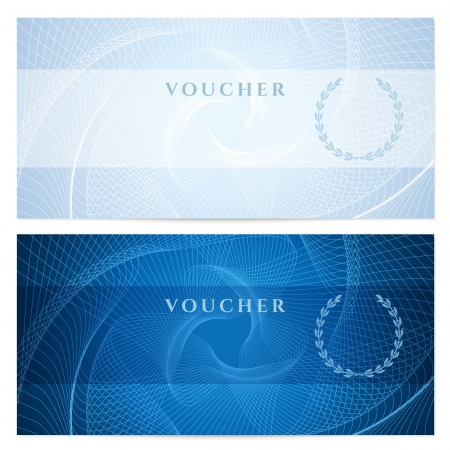 watermark: Gift certificate, Voucher, Coupon template with blue guilloche pattern  watermark   Dark background for banknote, money design, currency, note, check  cheque , ticket, reward  Vector