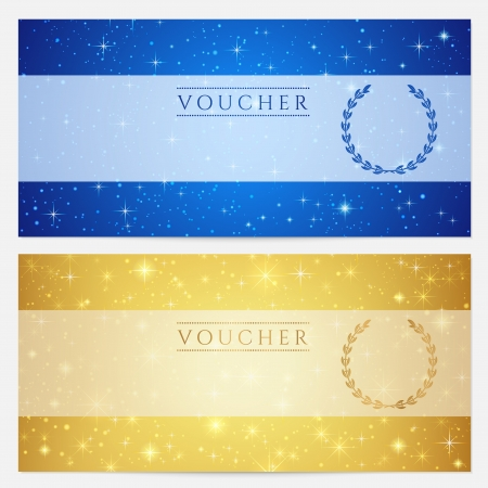 postcard template: Gift certificate, Voucher, Coupon template with sparkling, twinkling stars  Night sky background design for invitation, banner, ticket  Vector in gold, blue color