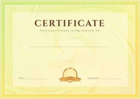 completion: Certificate, Diploma of completion  design template, background  with guilloche pattern  watermark , border, frame  Useful for  Certificate of Achievement, Certificate of education, awards, winner