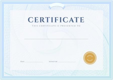 degree: Certificate, Diploma di modello di progettazione di completamento, con sfondo arabescato filigrana, bordo, cornice utile per il Certificate of Achievement, titolo di studio, premi, vincitore Vettoriali