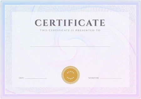 証明書、卒業証書完成デザイン テンプレート、ギョーシェ パターン透かしと背景の罫線、フレーム達成の証明書、証明書、教育、賞、勝者のための