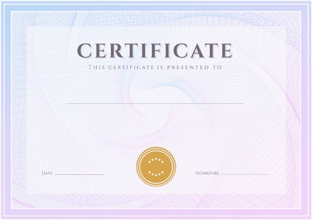certificate template: Certificate, Diploma of completion  design template, background  with guilloche pattern  watermark , border, frame  Useful for  Certificate of Achievement, Certificate of education, awards, winner