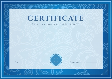 azul: Certificado, Diploma de la plantilla de diseño de la terminación, fondo de desplazamiento floral, remolino patrón de marca de agua, frontera, marco para el Certificado de Logro, Certificado de la educación, los premios, el ganador