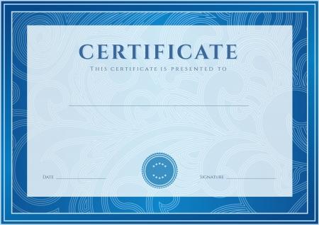 modrý: Certifikát, diplom o dokončení návrhu šablony, pozadí Květinové svitek, vír vzor vodoznak, hraniční, rám Pro získáním certifikátu, osvědčení o vzdělání, ocenění, vítěz
