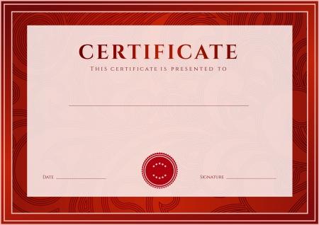 plantilla: Certificado, Diploma de la plantilla de diseño de la terminación, fondo de desplazamiento floral, remolino patrón de marca de agua, frontera, marco para el Certificado de Logro, Certificado de la educación, los premios, el ganador