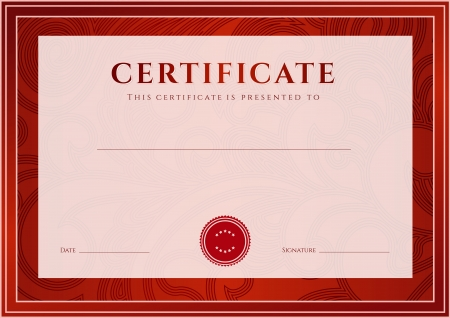 Certificate, Diploma of completion  design template, background   Floral  scroll, swirl  pattern  watermark , border, frame  For  Certificate of Achievement, Certificate of education, awards, winner Stok Fotoğraf - 21670394