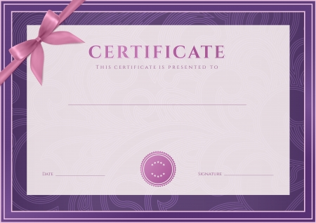 Certificate, Diploma of completion  design template, background   Floral  scroll, swirl  pattern  watermark , border, frame, bow  Certificate of Achievement, Certificate of education, awards, winner Stock Illustratie