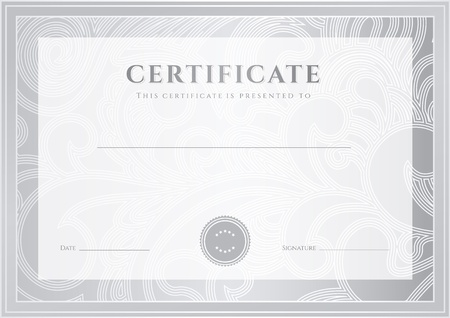 completion: Certificate, Diploma of completion  silver template, background   Floral  scroll, swirl  pattern  watermark , border, frame  For  Certificate of Achievement, Certificate of education, awards, winner