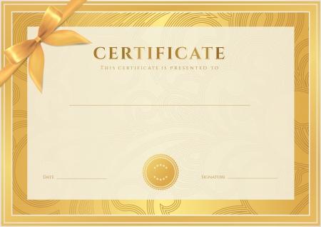 dersleri: Belgesi, tamamlama şablon Diploma, arka plan Altın çiçek kaydırma, girdap desen filigran, sınır, çerçeve, Başarı yay Belgesi, eğitim Belgesi, ödül, kazanan Çizim