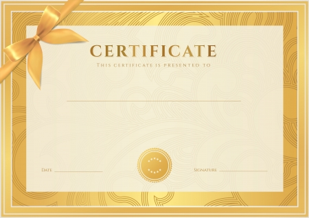 Certificate, Diploma of completion  template, background   Gold floral  scroll, swirl  pattern  watermark , border, frame, bow  Certificate of Achievement, Certificate of education, awards, winner Vector