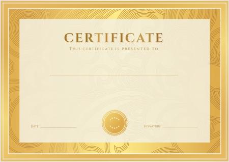 completion: Certificado, Diploma de finalizaci�n de plantilla, fondo floral de la voluta del oro, remolino patr�n de marca de agua, frontera, marco Certificate of Achievement, Certificado de la educaci�n, los premios, el ganador