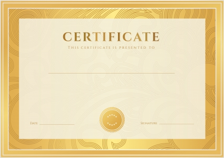 Certificate, Diploma of completion  template, background   Gold floral  scroll, swirl  pattern  watermark , border, frame  Certificate of Achievement, Certificate of education, awards, winner Vector