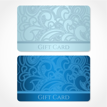 Blue, turquoise gift card  discount card, business card  with floral  scroll, swirl  pattern  tracery   Background design for gift coupon, voucher, invitation, ticket etc  Vector