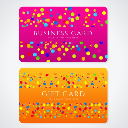 Colorful Business or Gift card template with abstract pattern  Bright  orange, purple  background design for gift coupon, voucher, invitation, ticket  Vector Stock Vector - 21670402