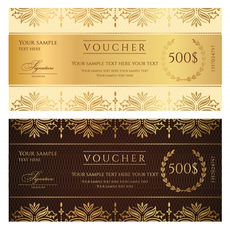 scroll border: Voucher Gift certificate Illustration