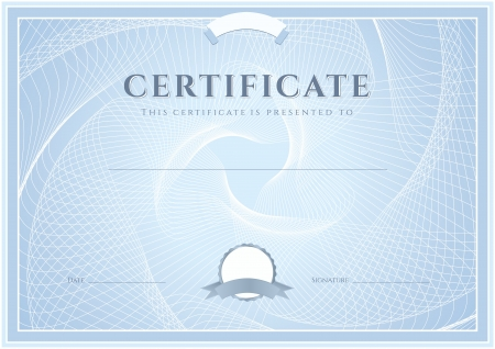 Certificate, Diploma of completion  design template, background  with guilloche pattern  watermark , border, frame  Blue Certificate of Achievement, Certificate of education, coupon, awards, winner Vettoriali