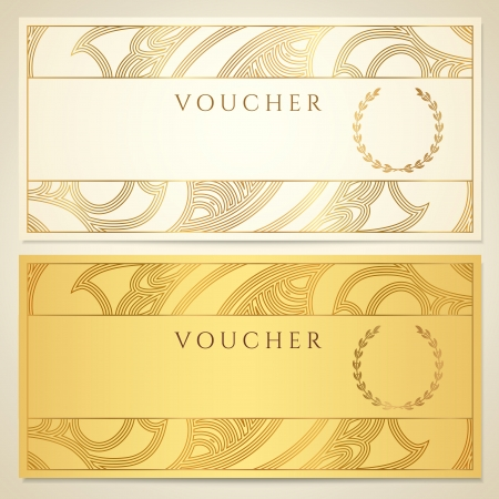 Voucher, Gift certificate, Coupon template  Floral, scroll pattern  border, frame    Illustration
