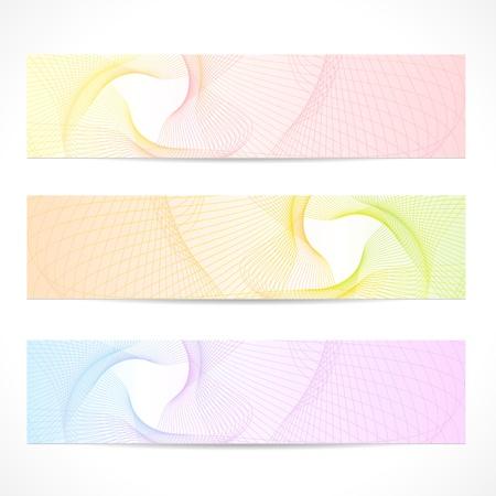 web header: Vector conjunto Banners horizontales de colores Resumen de fondo con la l�nea curva patr�n, l�neas entrecruzadas, onda tracer�a dise�o gr�fico contempor�neo para el sitio web de dise�o web la informaci�n de encabezado, boleto, cup�n