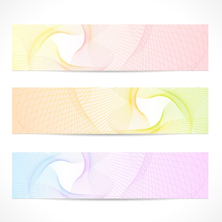 Vector set  Horizontal colorful Banners  Abstract background with curve pattern  line, guilloche, wave tracery   Contemporary graphic design for website  web header layout  information, ticket, coupon Ilustração