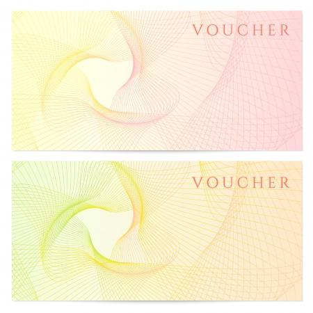 商品券、クーポン、クーポン テンプレート カラフルなレインボー ギョーシェ パターンと紙幣、お金の設計、通貨、メモの背景の透かし、小切手、チケット、報酬ベクトルをチェック 写真素材 - 22175191