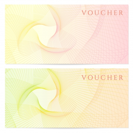 Gift certificate, Voucher, Coupon template with colorful  rainbow  guilloche pattern  watermark   Background for banknote, money design, currency, note, check  cheque , ticket, reward  Vector Çizim