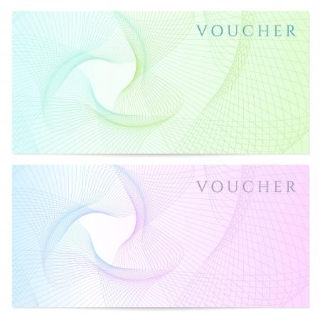 certificat-cadeau, Chèque, modèle coupon avec des couleurs arc-en-guillochée filigrane fond pour billets de banque, l'argent conception, monnaie, note, check check, billet, récompense Vecteur