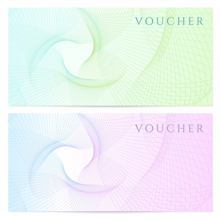 Gift certificate, Voucher, Coupon template with colorful  rainbow  guilloche pattern  watermark   Background for banknote, money design, currency, note, check  cheque , ticket, reward  Vector Ilustração