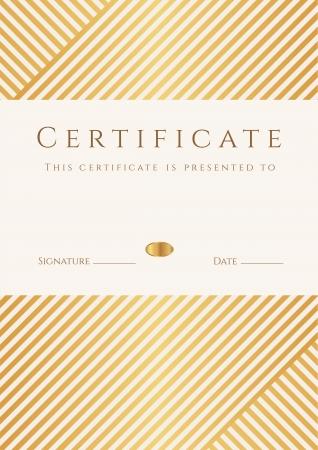 証明書、補完テンプレート、背景とゴールド ストライプ ライン パターン、フレームの達成の証明、賞、勝者、学位証明書、ビジネス教育コース、