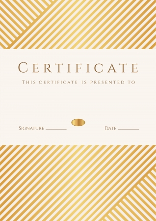 Certificate, Diploma of completion  template, background  with gold stripy  lines  pattern, frame  Certificate of Achievement, awards, winner, degree certificate, business Education  Courses , lessons