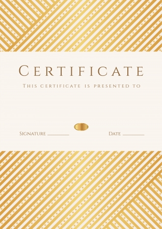 Certificate, Diploma of completion  template, background  with gold stripy  lines  pattern, frame  Certificate of Achievement, awards, winner, degree certificate, business Education  Courses , lessons Stock Vector - 22175194