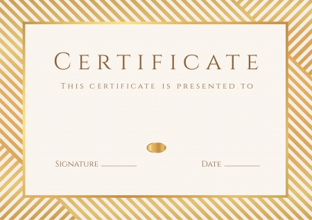 certificate: Certificate, Diploma of completion  template, background  with gold stripy  lines  pattern, frame  Certificate of Achievement, awards, winner, degree certificate, business Education  Courses , lessons