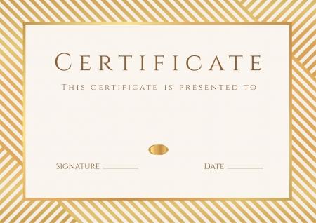 studie: Certifikát, diplom o dokončení šablony, pozadí se zlatým stripy tratích vzor, rám získáním certifikátu, ocenění, vítěz, studia certifikát, obchodní vzdělávací kurzy, lekce Ilustrace