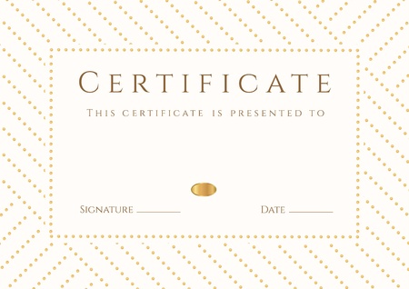Certificate, Diploma of completion  template, background   Gold stripy  dots  pattern, white frame  Certificate of Achievement, award, winner, degree certificate, business Education  Courses , lessons Stock Vector - 22175195