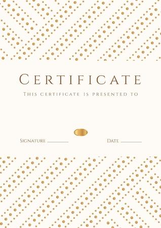 dersleri: Belgesi, tamamlama şablon Diploma, arka plan Altın çizgili noktalar desen, Başarı beyaz çerçeve belgesi, ödül, kazanan, diploması, iş Eğitim Kursları, ders Çizim