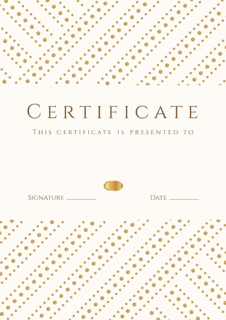 Certificate, Diploma of completion  template, background   Gold stripy  dots  pattern, white frame  Certificate of Achievement, award, winner, degree certificate, business Education  Courses , lessons Vector