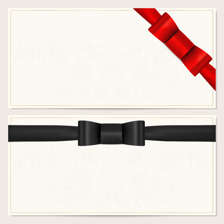 Invitation or Gift card template with red black bow tie